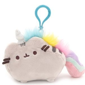 Cute Pusheen Cat Rainbow Unicorn Plushie Keychain
